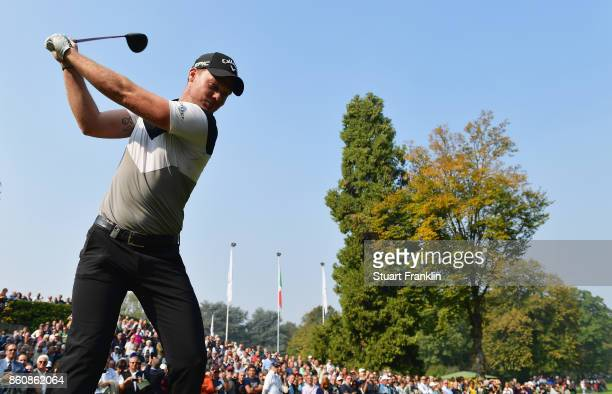 Danny Willett of England makes a practice swing on the 1st hole during day two of the Italian Open at Golf Club Milano Parco Reale di Monza on...