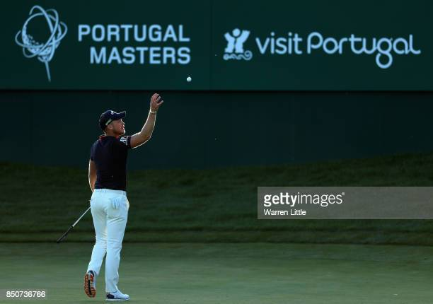 Danny Willett of England on the 18th green during day one of the 2017 Portugal Masters at Dom Pedro Victoria Golf Club on September 21 2017 in...