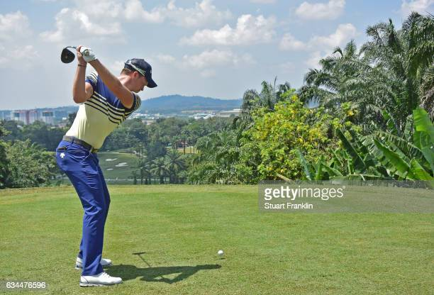 Danny Willett of England plays a shot during Day Two of the Maybank Championship Malaysia at Saujana Golf Club on February 10 2017 in Kuala Lumpur...