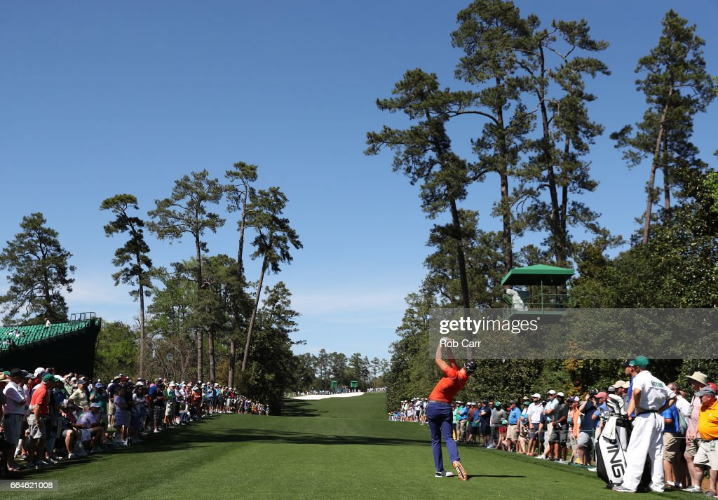 Danny Willett of England plays a tee shot during a practice round prior to the start of the 2017 Masters Tournament at Augusta National Golf Club on April 4, 2017 in Augusta, Georgia.