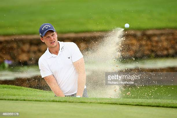 Danny Willett of England plays from a greenside bunker on the 9th during the second round of the Alfred Dunhill Championship at Leopard Creek Country...