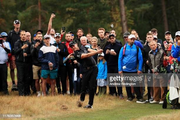 Danny Willett of England plays his second shot on the 11th hole during Day Four of the BMW PGA Championship at Wentworth Golf Club on September 22,...