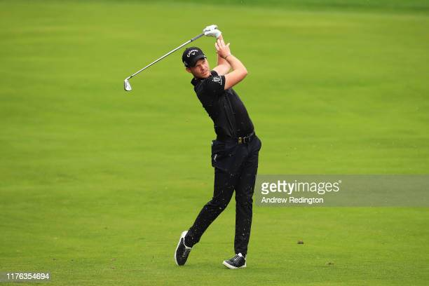 Danny Willett of England plays his second shot on the 12th hole during Day Four of the BMW PGA Championship at Wentworth Golf Club on September 22,...