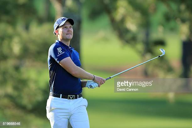 Danny Willett of England plays his second shot on the 17th hole during the first round of the 2016 Masters Tournament at Augusta National Golf Club...
