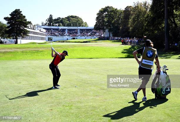 Danny Willett of England plays his second shot on the 18th hole during Day Two of the BMW PGA Championship at Wentworth Golf Club on September 20...