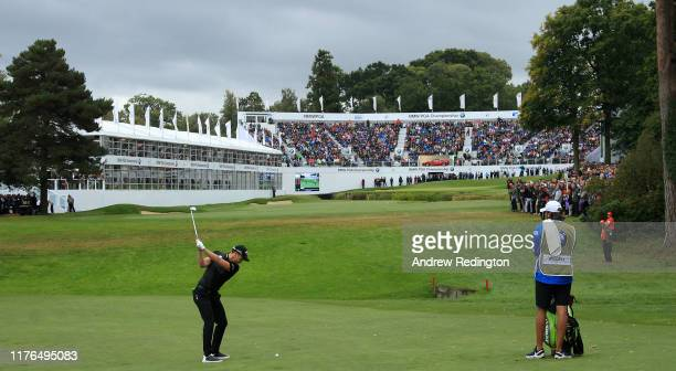 Danny Willett of England plays his second shot on the 18th hole during Day Four of the BMW PGA Championship at Wentworth Club on September 22 2019 in...