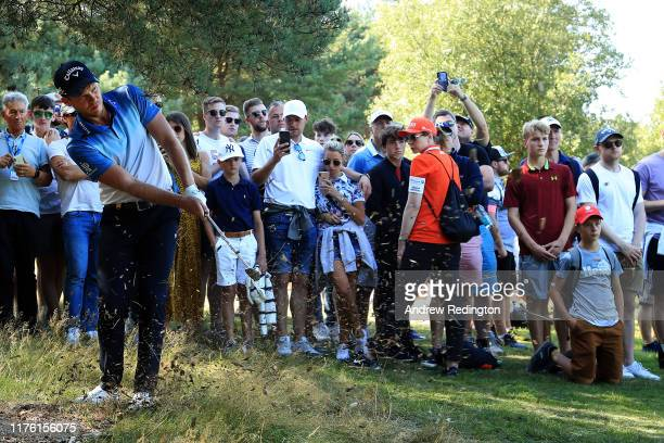 Danny Willett of England plays his second shot on the 8th hole during Day Three of the BMW PGA Championship at Wentworth Golf Club on September 21,...
