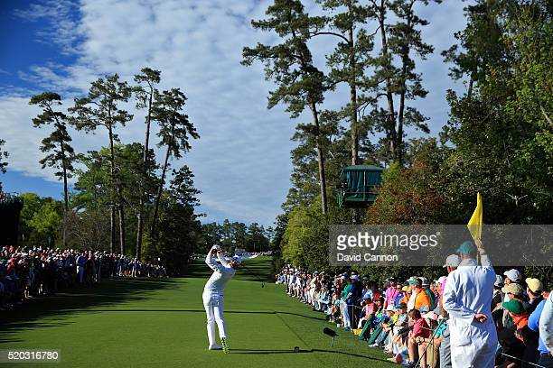 Danny Willett of England plays his shot from the 18th tee during the final round of the 2016 Masters Tournament at Augusta National Golf Club on...