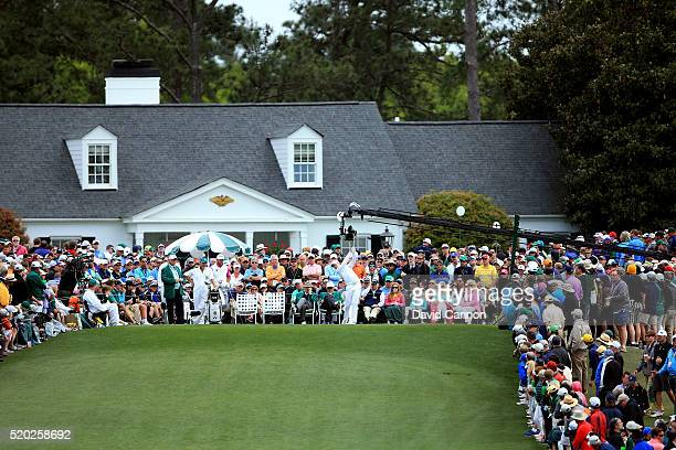 Danny Willett of England plays his shot from the first tee during the final round of the 2016 Masters Tournament at Augusta National Golf Club on...