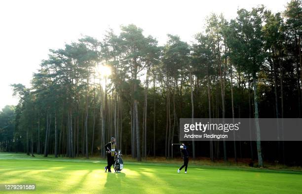 Danny Willett of England plays his third shot on the 12th hole during Day 2 of the BMW PGA Championship at Wentworth Golf Club on October 09, 2020 in...