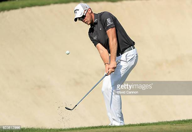 Danny Willett of England plays his third shot on the third hole during the first round of the DP World Tour Championship on the Earth Course at...