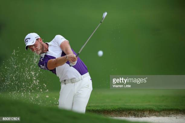 Danny Willett of England plays his third shot on the third hole during the second round of the 2017 PGA Championship at Quail Hollow Club on August...