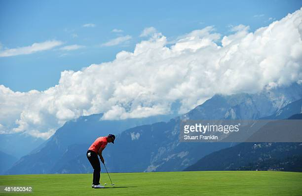 Danny Willett of England putts during the first round of the Omega European Masters at CranssurSierre Golf Club on July 23 2015 in CransMontana...
