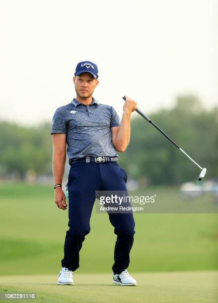 Danny Willett of England reacts after a missed eagle putt on the 18th green during day two of the DP World Tour Championship at Jumeirah Golf Estates...