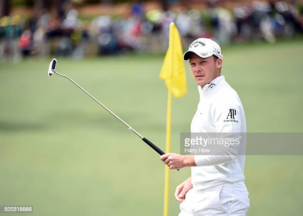 Danny Willett of England reacts on the second green during the final round of the 2016 Masters Tournament at Augusta National Golf Club on April 10...