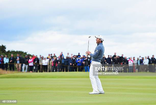 Danny Willett of England reacts to a missed putt for eagle on the fifth hole during the third round of the 144th Open Championship at The Old Course...