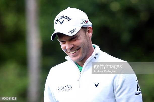 Danny Willett of England reacts to his birdie on the 13th green during the final round of the 2016 Masters Tournament at Augusta National Golf Club...