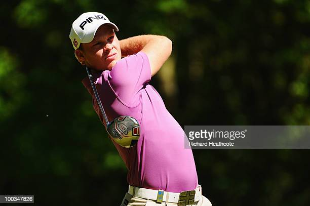 Danny Willett of England tees off at the 3rd hole during the final round of the BMW PGA Championship on the West Course at Wentworth on May 23 2010...