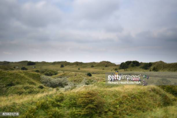 Danny Willett of England tees off on the 8th hole during the third round of the 146th Open Championship at Royal Birkdale on July 22 2017 in...