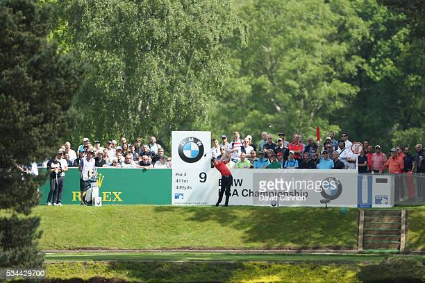Danny Willett of England tees off on the 9th hole during day one of the BMW PGA Championship at Wentworth on May 26 2016 in Virginia Water England