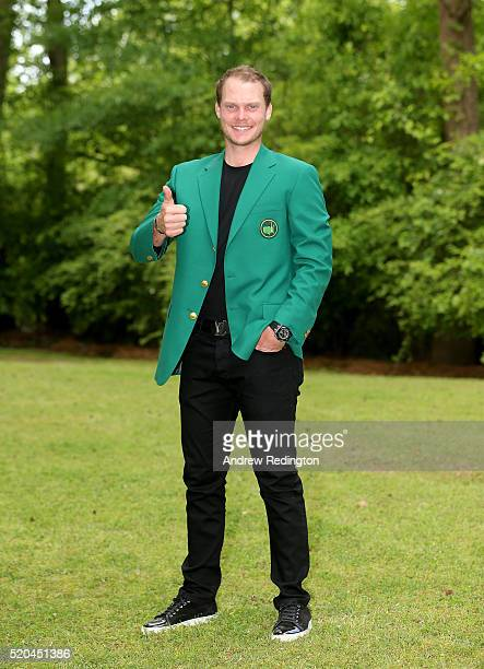 Danny Willett of England the 2016 Masters champion poses with his green jacket at his rented house on April 11 2016 in Augusta Georgia