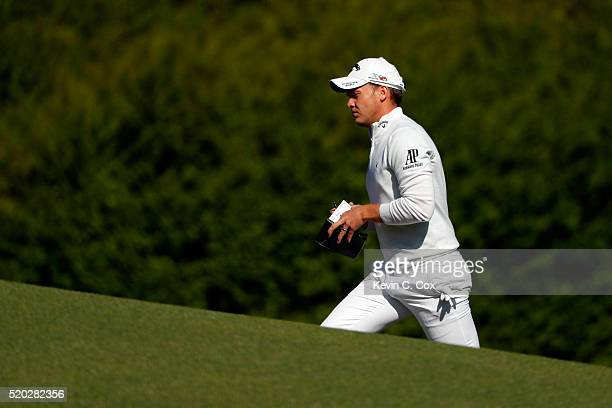 Danny Willett of England walks to the 12th green during the final round of the 2016 Masters Tournament at Augusta National Golf Club on April 10 2016...
