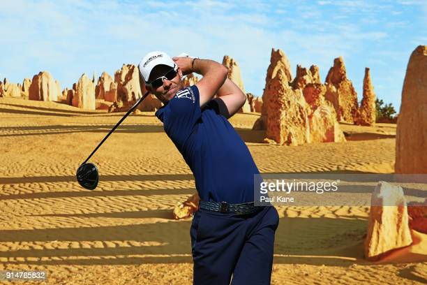 Danny Willett of England watches his tee shot on the 6th hole during a practice round ahead of the 2018 ISPS HANDA World Super 6 at Lake Karrinyup...
