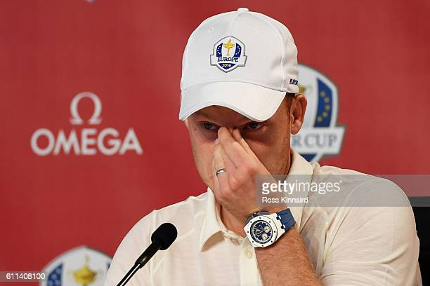 Danny Willett of Europe speaks in a press conference during practice prior to the 2016 Ryder Cup at Hazeltine National Golf Club on September 29,...