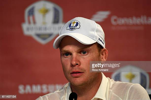 Danny Willett of Europe speaks in a press conference prior to the 2016 Ryder Cup at Hazeltine National Golf Club on September 29, 2016 in Chaska,...