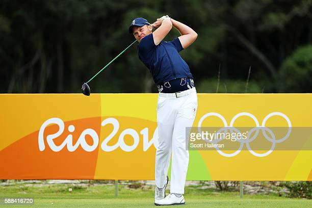 Danny Willett of Great Britain plays his shot from the third tee during the first round of men's golf on Day 6 of the Rio 2016 Olympics at the...