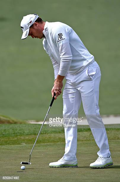 Danny Willett sinks a putt on the second green during the final round of the Masters on Sunday April 10 at Augusta National Golf Club in Augusta Ga