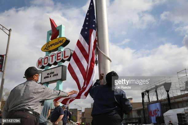 Danny Williams helps raise the American flag at the Lorraine Motel where Dr Martin Luther King Jr was assassinated almost 50 years ago April 3 2018...