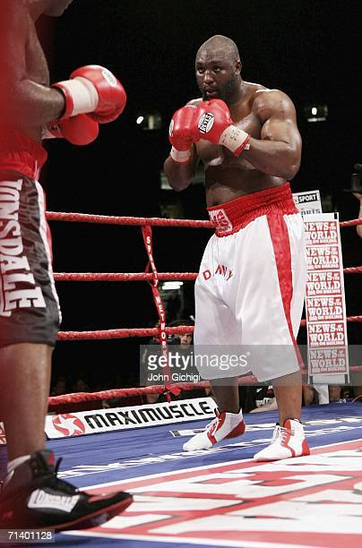 Danny Williams in action during the Commonwealth Heavyweight title fight between Danny Williams and Matt Skelton at The Millennium Stadium on July 8...
