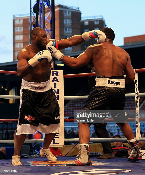 Danny Williams is knocked out by Derek Chisora during The British Heavyweight Championship at Boleyn Ground on May 15 2010 in London England