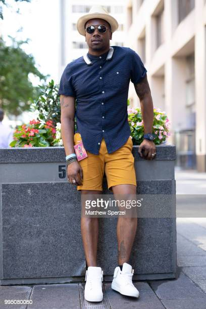 Danny Williams is seen on the street attending Men's New York Fashion Week wearing MCM Zara Forever 21 and Buscemi on July 9 2018 in New York City
