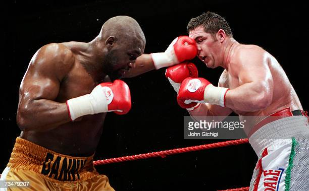 Danny Williams lands a left jab on Scott Gammer during their British Heavyweight title fight on March 2 2007 at Neath Leisure Centre in Neath Wales