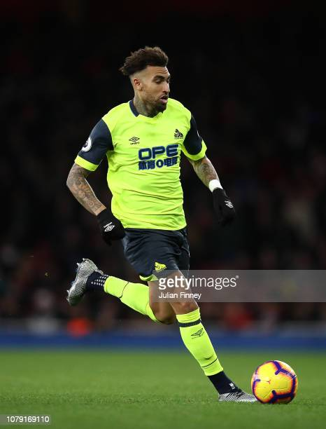 Danny Williams of Huddersfield in acton during the Premier League match between Arsenal FC and Huddersfield Town at Emirates Stadium on December 08,...