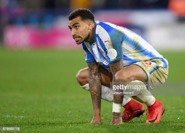 Danny Williams of Huddersfield Town looks dejected after the Premier League match between Huddersfield Town and Manchester City at John Smith's...