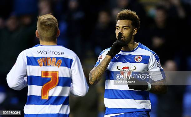 Danny Williams of reading celebrates scoring his team's third goal of the game during The Emirates FA Cup Fourth Round match between Reading and...
