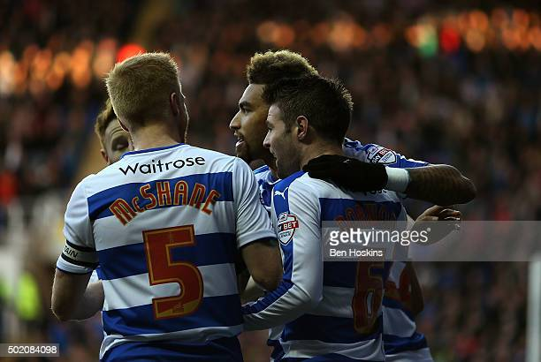 Danny Williams of Reading celebrates with team mates after scoring the opening goal of the game during the Sky Bet Championship match between Reading...