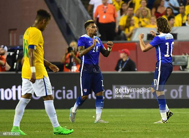 Danny Williams of the United States reacts after scoring a goal during an international friendly against Brazil at Gillette Stadium on September 8...
