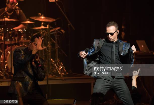 Danny Wood and Donnie Wahlberg of New Kids On The Block perform in concert celebrating the 30th anniversary of 'Hangin Tough' at The Apollo Theater...