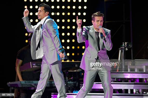 Danny Wood and Joey McIntyre of New Kids On The Block perform in concert at the Verizon Wireless Music Center on June 28 2009 in Noblesville Indiana