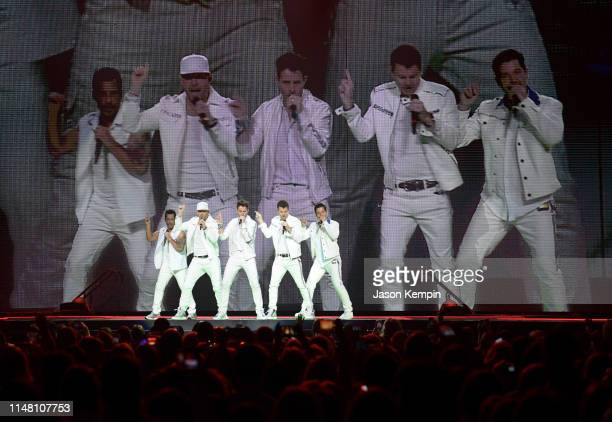 Danny Wood Donnie Wahlberg Joey McIntyre Jordan Knight and Jonathan Knight of the musical group New Kids On The Block perform at Bridgestone Arena on...
