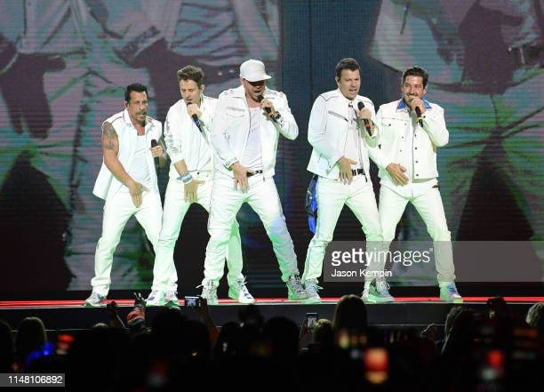Danny Wood Joey McIntyre Donnie Wahlberg Jonathan Knight and Jordan Knight of the musical group New Kids On The Block perform at Bridgestone Arena on...