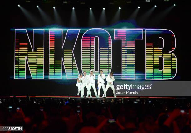 Danny Wood Joey McIntyre Donnie Wahlberg Jordan Knight and Jonathan Knight of the musical group New Kids On The Block perform at Bridgestone Arena on...