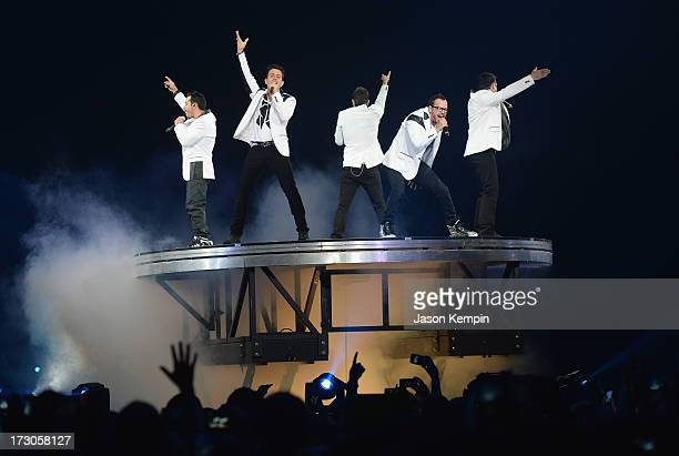 Danny Wood Joey McIntyre Jordan Knight Donnie Wahlberg and Jonathan Knight of the group New Kids On The Block perform at Staples Center on July 5...