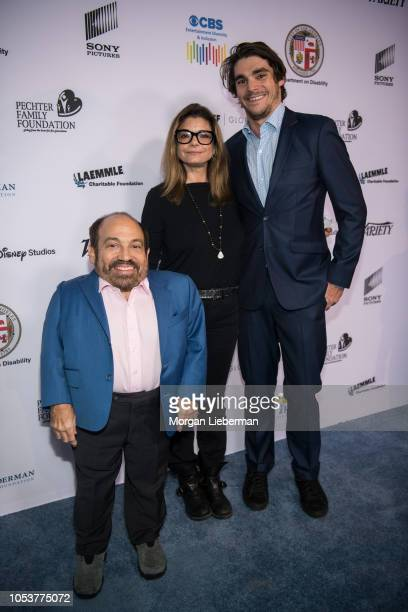 Danny Woodburn Laura San Giacomo and RJ Mitte arrive at the 2018 Opening Night of ReelAbilities Film Festival at Wolf Theatre on October 11 2018 in...