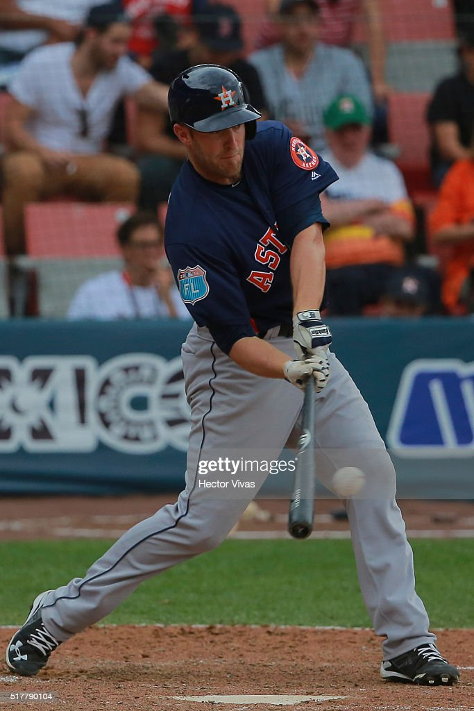Danny Worth #26 of Houston Astros hits the ball during the preseason match between Houston Astros and San Diego Padres at Fray Nano Stadium on March 27, 2016 in Mexico City, Mexico.