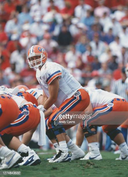 Danny Wuerffel Quarterback for the University of Florida Gators calls the play on the line of scrimmage during the NCAA Southwest Conference college...